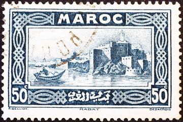 Old view of Rabat on vintage postage stamp