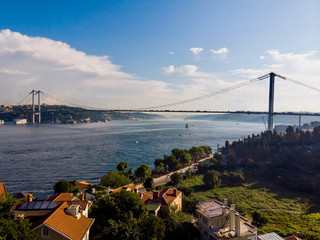 Aerial Drone View of Istanbul Bosphorus Bridge
