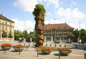 Meret Oppenheim fountain - Meret Oppenheim-Brunnen at Waisenhausplatz. Bern. Switzerland