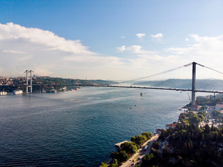 Aerial Drone View of Istanbul Bosphorus Bridge