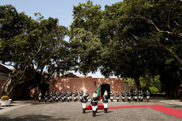 Presidential palace guards form a line at Belem presidential palace in Lisbon