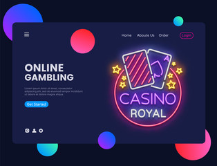 Casino neon creative website template design. Vector illustration Casino concept for website and mobile apps, business apps, marketing, neon banner, Online Gambling