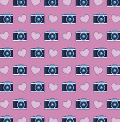 photographic camera and hearts background