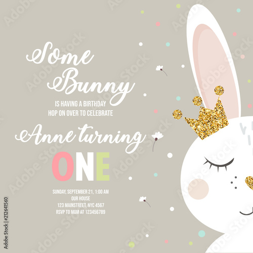 birthday invitation with bunny fotolia com の ストック画像と