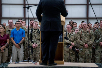 Secretary of State Mike Pompeo speaks to the coalition forces at Bagram Air Base