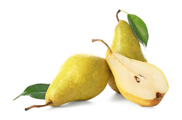 Fototapete - Delicious ripe pears on white background