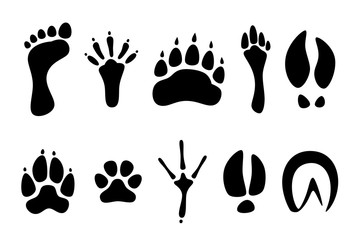 Set of black footprints of different animals on a white background