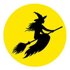 Silhouette of a witch on a broomstick against the background of the moon