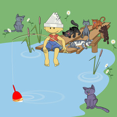 Fishing with cats. Vector illustration depicting a boy who catches fish surrounded by hungry cats.