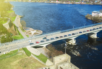 The bridge between Ivangorod and Narva. Border of Estonia and Russia.