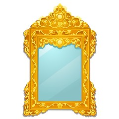 Vintage mirror with golden ornate florid frame isolated on white background. Vector cartoon close-up illustration.