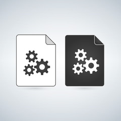 Black and white settings gears File Icon, vector illustration isolated on white background.