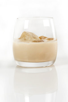 Bailey's liquor served cold in an old fashion glass Whiskey and coffee blend drink served as a digestive