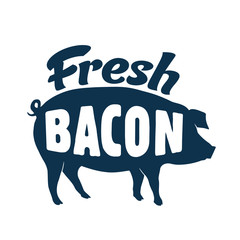 Vintage Style Clip Art - Fresh Bacon Sign - Vector EPS10.