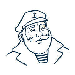 Vintage Style Clip Art - Captain or Sailor - Vector EPS10.