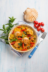 couscous with scallop eggplant and tomatoes
