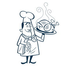 Vintage Style Clip Art - Chef presenting his big roasted chicken on a large plate - Vector EPS10.