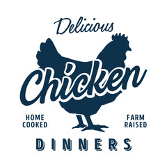 Vintage style clip art - Delicious Home cooked, Farm Raised Chicken Dinners - Vector EPS10