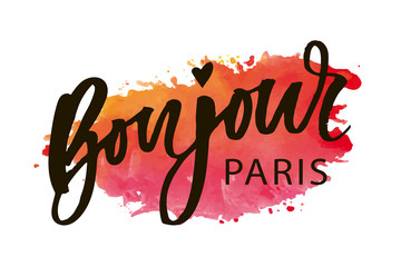 Bonjour Paris Phrase Vector Lettering Calligraphy Brush Watercolor