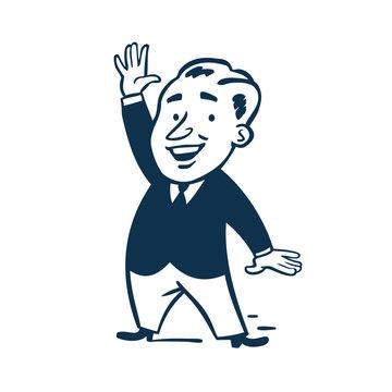 Vintage Style Clip Art - Happy business man raising his hand - Vector EPS10.
