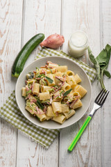 pasta with speck zucchinis and cream sauce