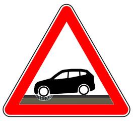 sd71 Schild-Dreieckig - german: Hinweis Zeichen - Achtung Gefahrenstelle - Schlaglöcher in der Straße - Kaputte Fahrbahn - english: pothole in a road surface - broken roadway - triangle red xxl g6294