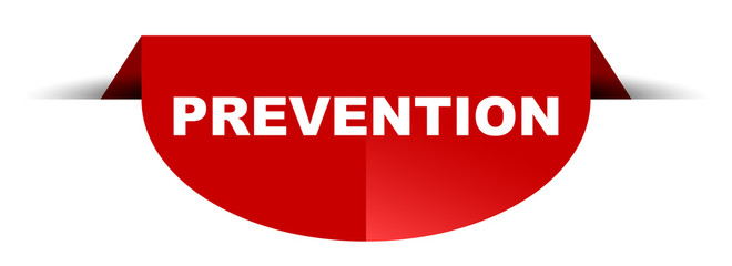 red vector round banner prevention