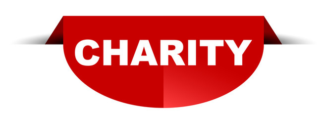 red vector round banner charity