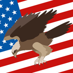 eagle on the background of the American flag vector illustration flat