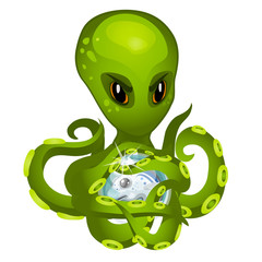 Cartoon green alien octopus holding in tentacles the embryo fish isolated on white background. Vector cartoon close-up illustration.
