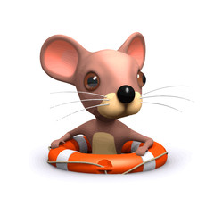 Vector 3d Funny cartoon mouse floating in the sea with a life preserver