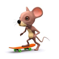 Vector 3d Mouse skateboarding