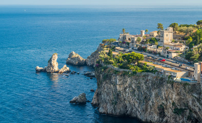 Scenic view of Taormina coastline, province of Messina, Sicily, southern Italy.