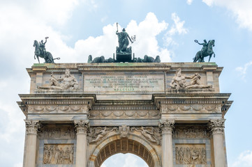View for top of Arco della Pace in Milan, Italy.