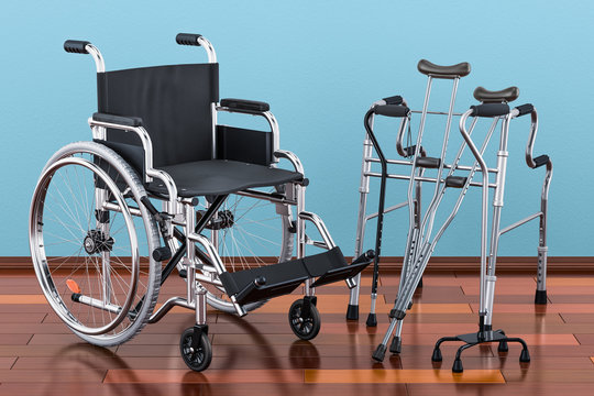 Wheelchair, walking frame and crutches on the wooden floor in the room, 3D rendering
