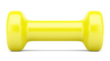 yellow dumbbell isolated on white background