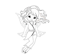Coloring beautiful  fairy in flight Isolated on white background.