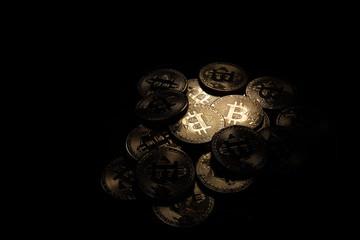 Macro closeup of crypto currency Bitcoin coins