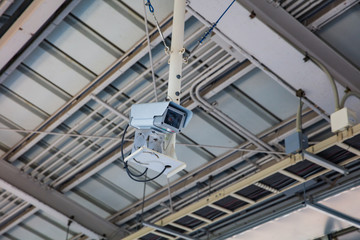 Security Camera or CCTV on location, train station