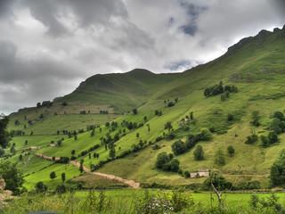 Verde ladera de los Valles Pasiegos en Cantabria.con la cumbre con nubes.
