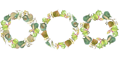 Linden leaves in a watercolor style. Frame border ornament square. Aquarelle leaf for background, texture, wrapper pattern, frame or border.