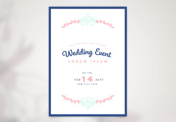 Wedding Event Poster Layout with Vine Elements