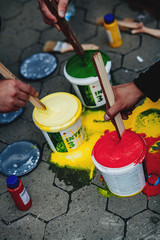 paint, color, red, bucket, green, painting, yellow, plastic, white, art, blue, isolated, construction, colorful, sand, toy, beach, brush, can, industry, summer, drawing, garden