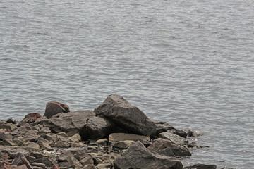 granite stones on the ocean shore