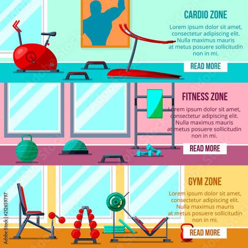 Sport Fitness Gym Indoor Interior Club BannersEquipment For Bodybuildingweight Training Activity
