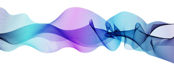 Vector wave pattern blue, purple, turquoise. Waving ribbon flowing, white background. Line art wiggly design element, modern horizontal waveform. Abstract vibrant shiny waves. EPS10 illustration