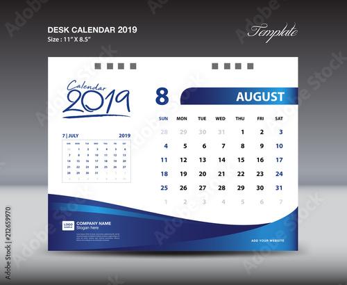 august desk calendar 2019 template week starts sunday stationery