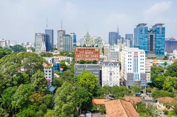 Ho Chi Minh City metropolis and downtown of Saigon, Vietnam
