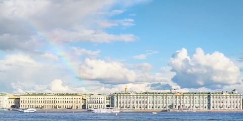 Palace quay and Hermitage panoramic view with rainbow over it