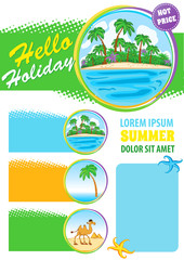 Travel agency advert design, Exotic Sea Travel banner, summer holiday vector template, touristic company flyer
